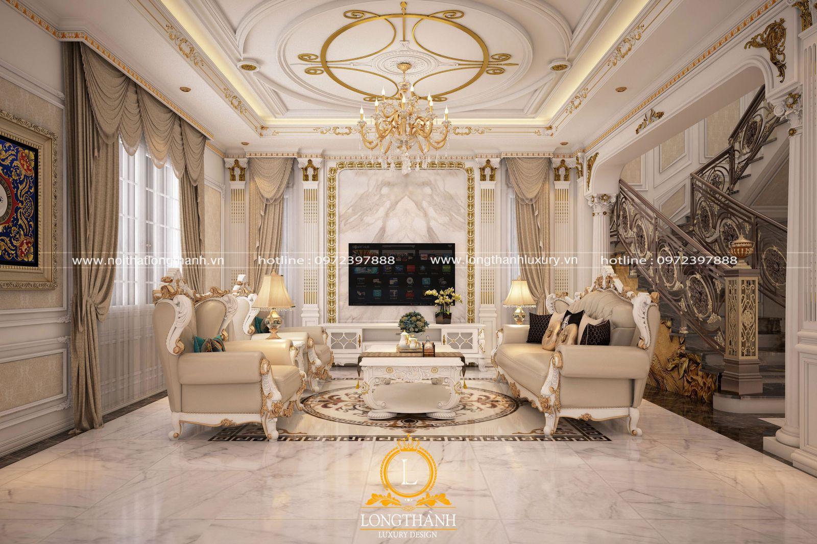 Nội thất phòng khách biệt thự sơn trắng nhẹ nhàng