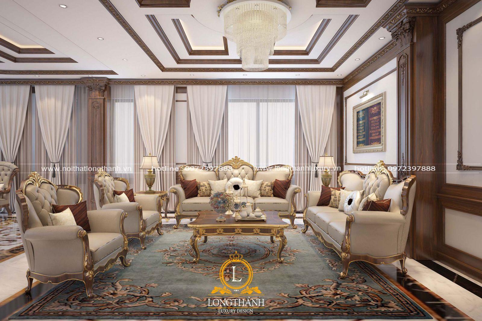 Sofa cổ điển nhẹ nhàng dát vàng sáng bóng