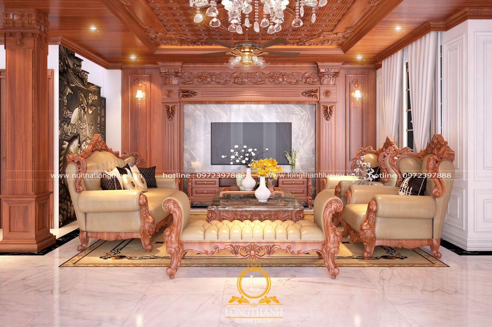 Nội thất phòng khách gỗ Gõ đỏ đẹp