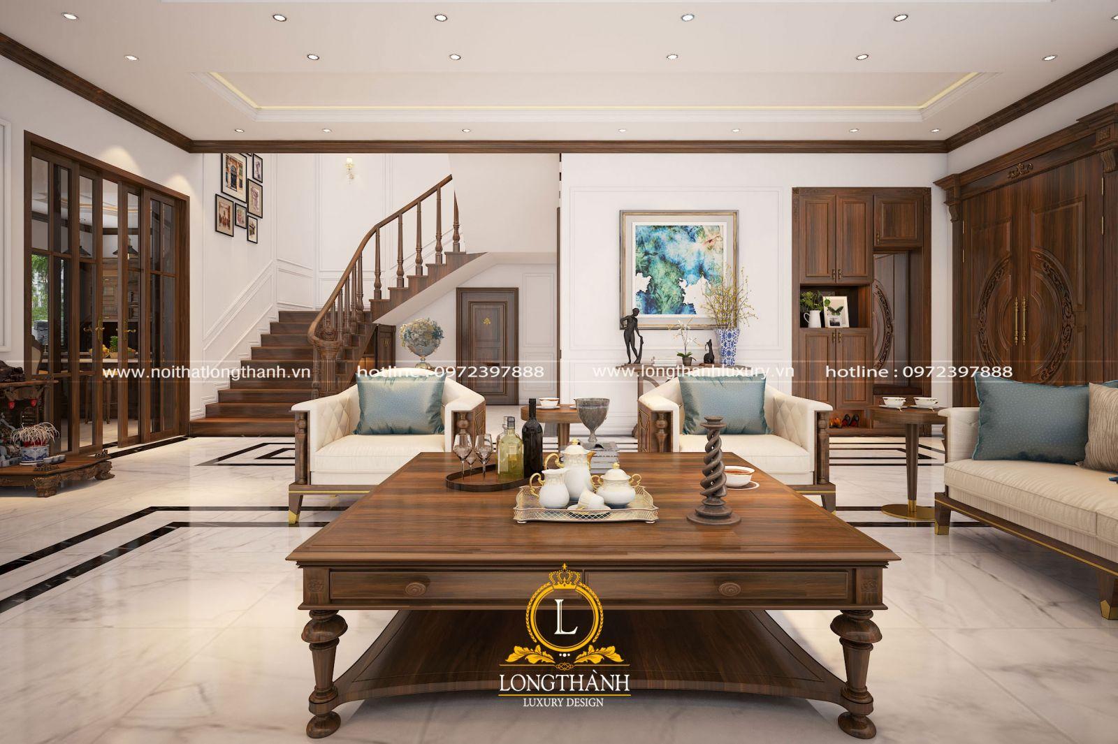 Nội thất phòng khách gỗ tự nhiên đẹp cho không gian căn hộ penhouse hai tầng