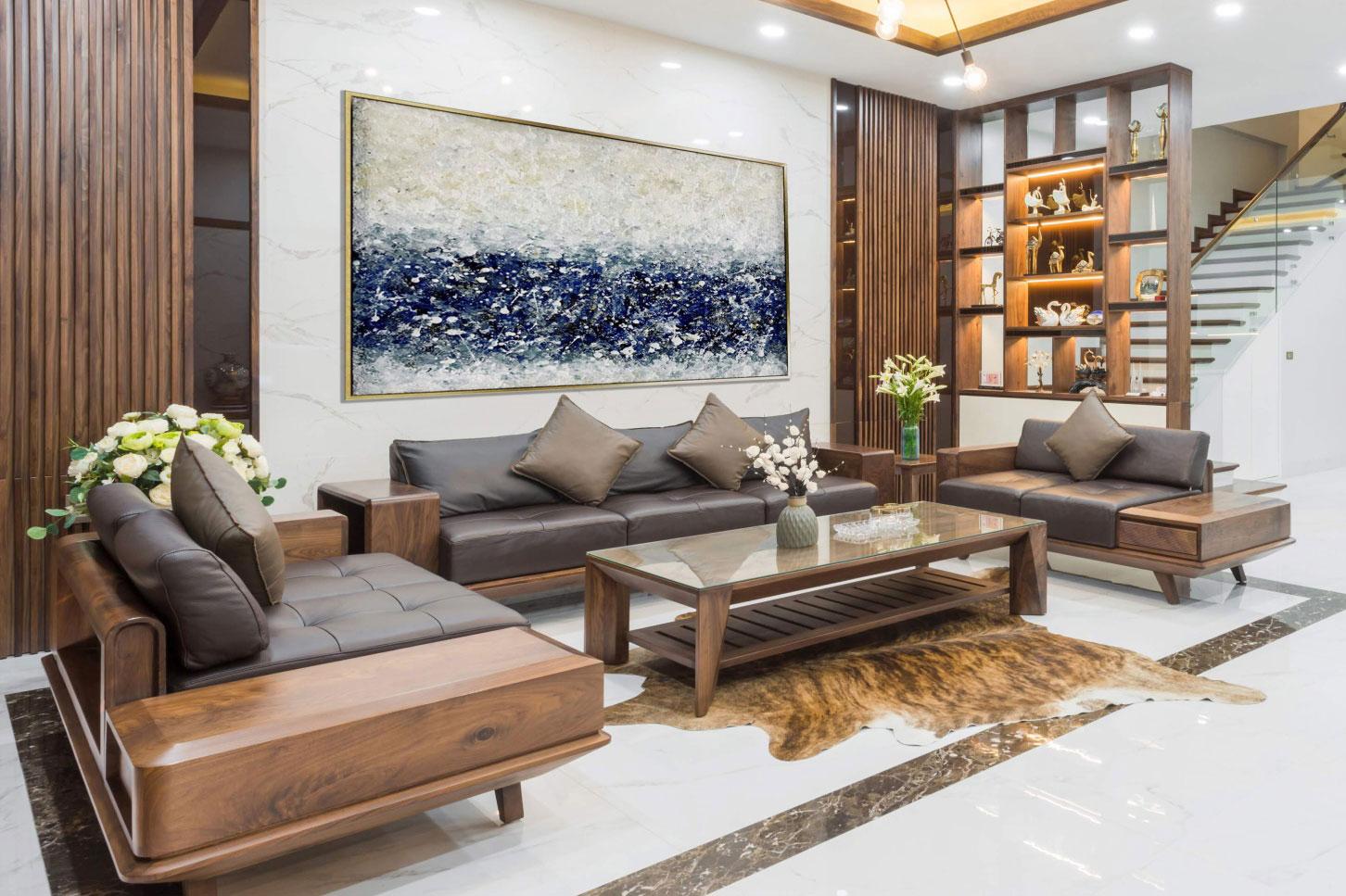 Mẫu sofa gỗ tự nhiên phong cách hiện đại cho phòng khách biệt thự mini