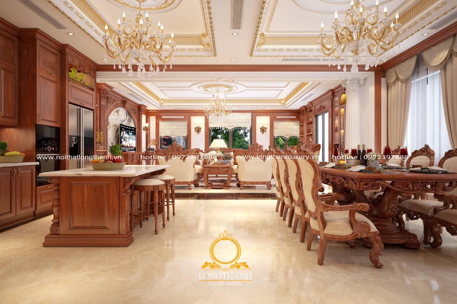 Nội thất phòng khách liền phòng ăn mang phong cách tân cổ điển