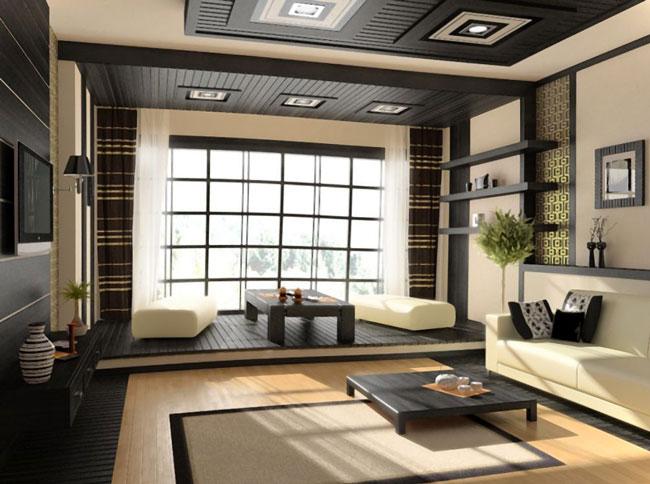 Thiết kế phòng khách kiểu Nhật pha trộn màu sắc của hiện đại