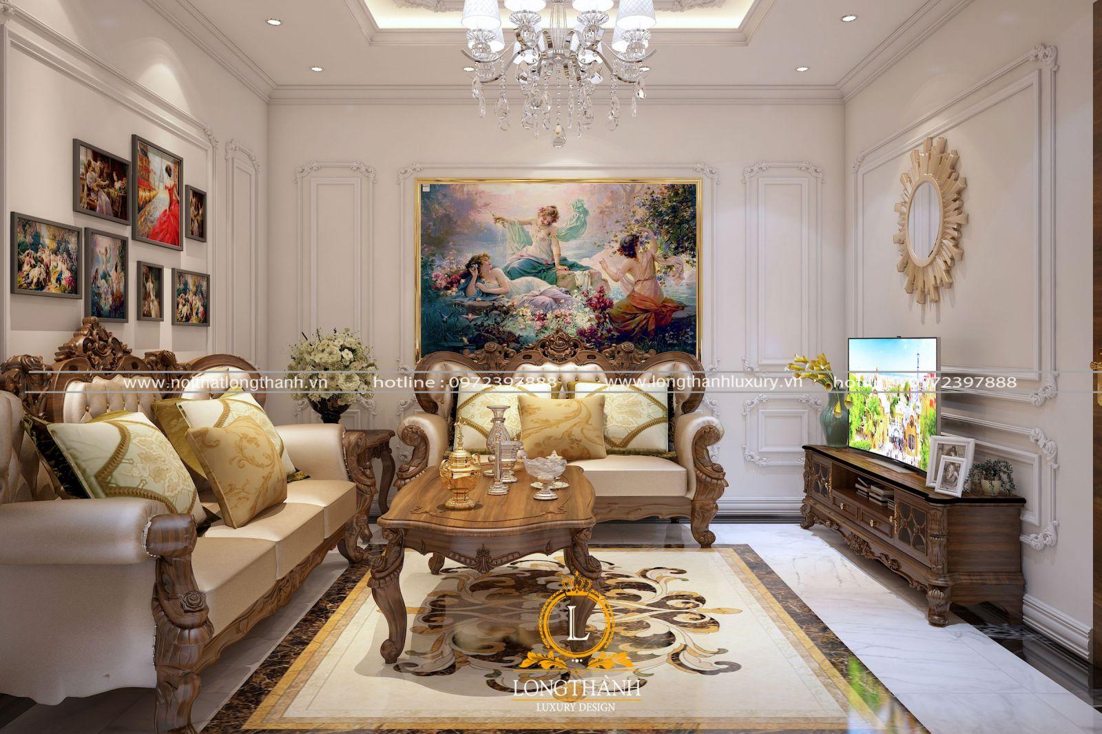 Nội thất phòng khách tân cổ điển chung cư rộng