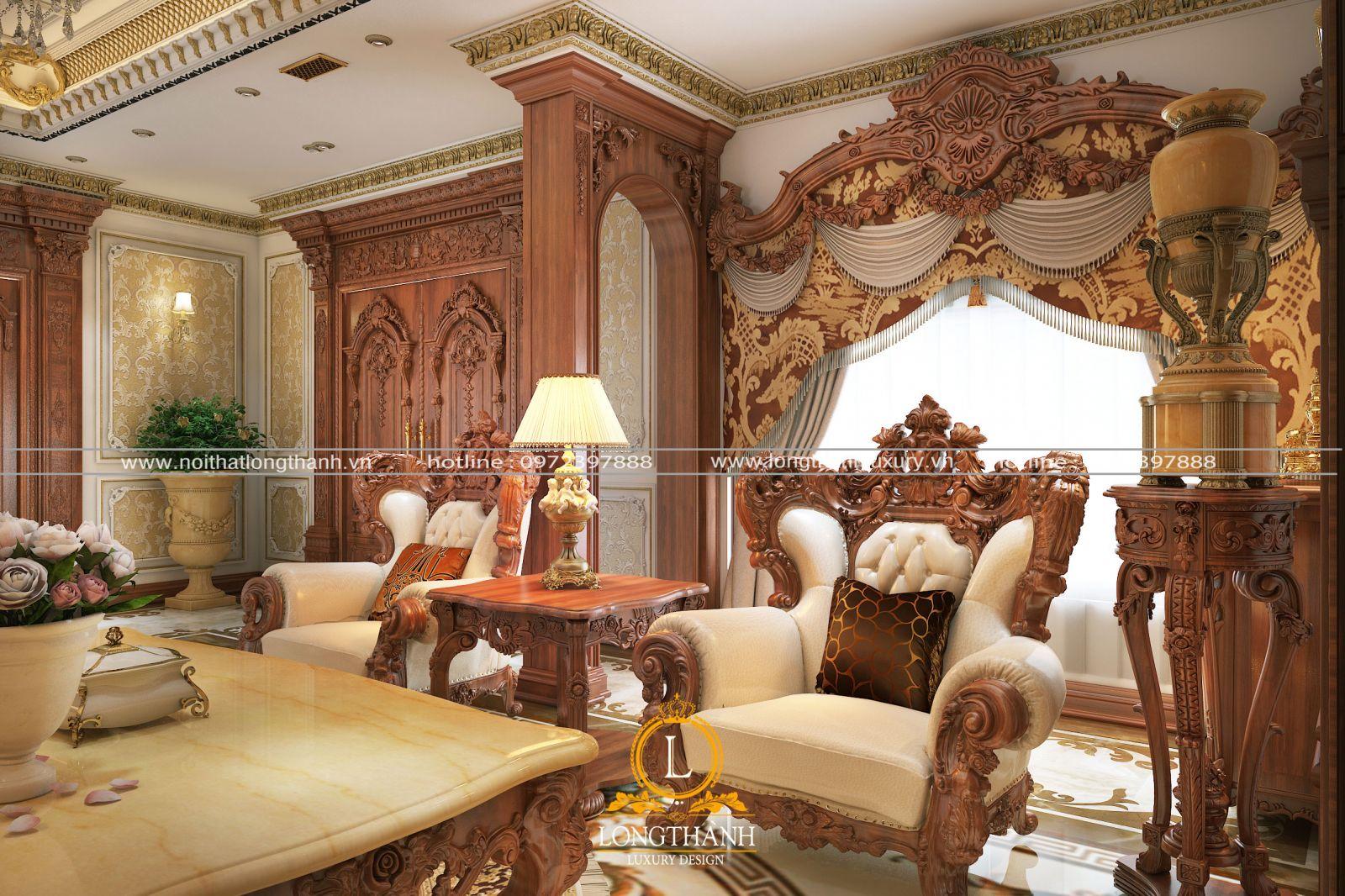 Sử dụng chất liệu cao cấp cho nội thất phòng khách tân cổ điển