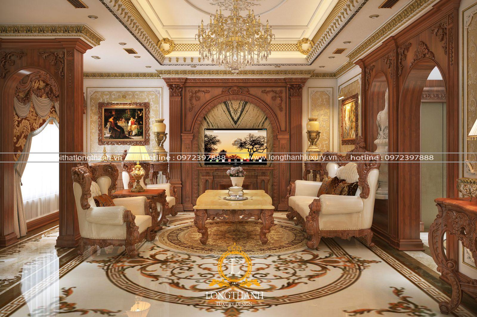 Sofa phòng khách nhà phồ với phong cách cổ điển Châu Âu