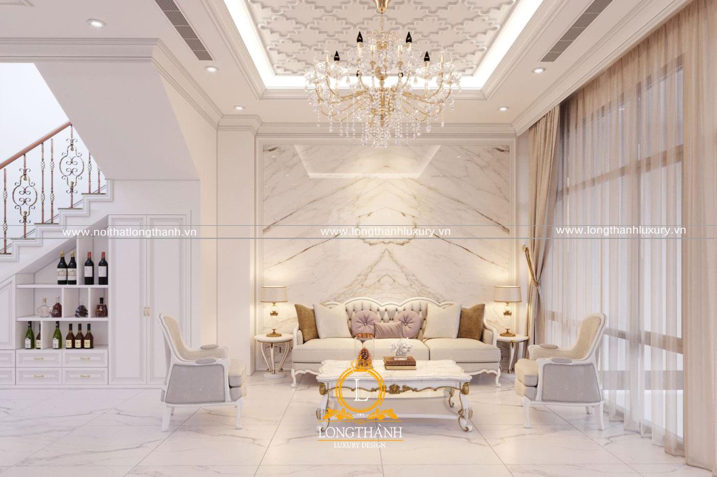 Nội thất phòng khách tân cổ điển sơn trắng đẹp