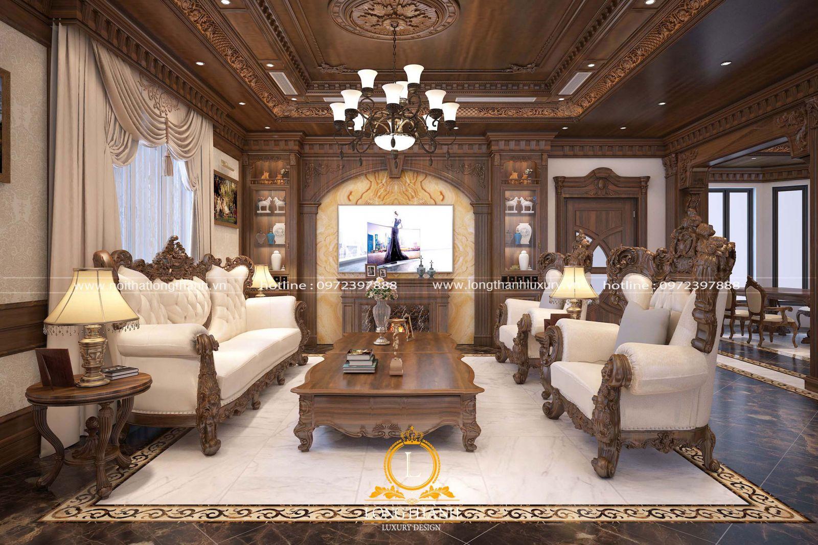 Nội thất phòng khách tân cổ điển với rèm cửa sử dụng chất liệu cao cấp
