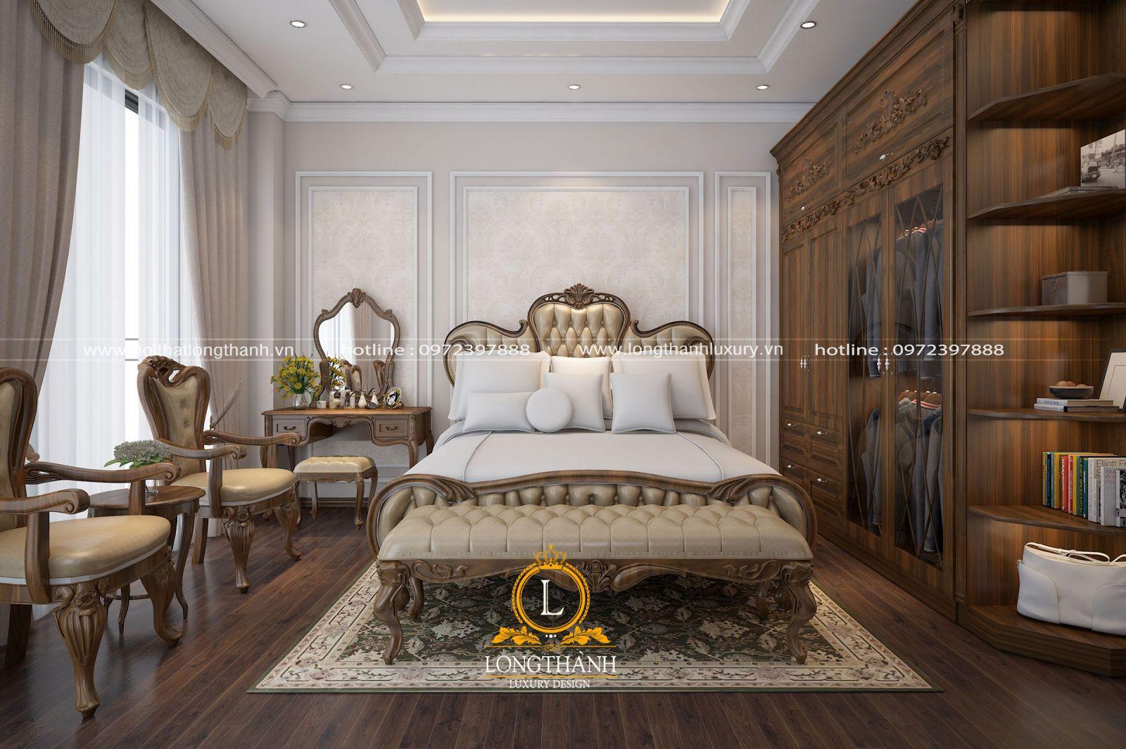 Tổng thể không gian nội thất tân cổ điển gỗ Óc chó cho nhà biệt thự