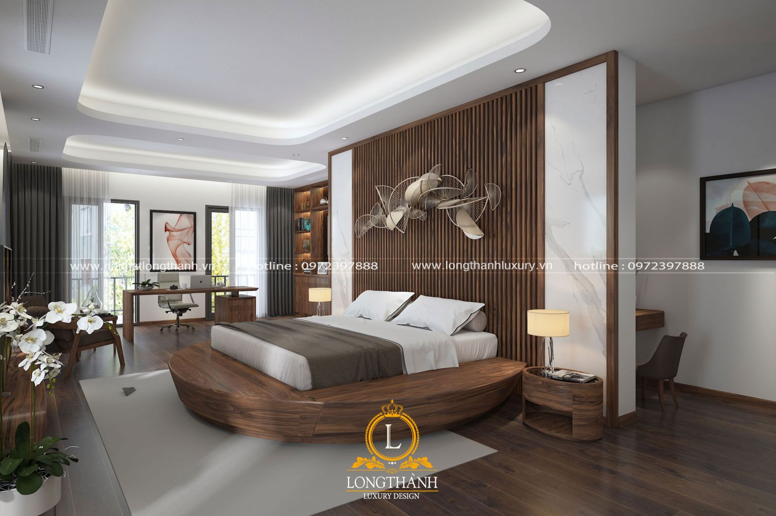Nội thất phòng ngủ gỗ Óc chó cao cấp hiện đại