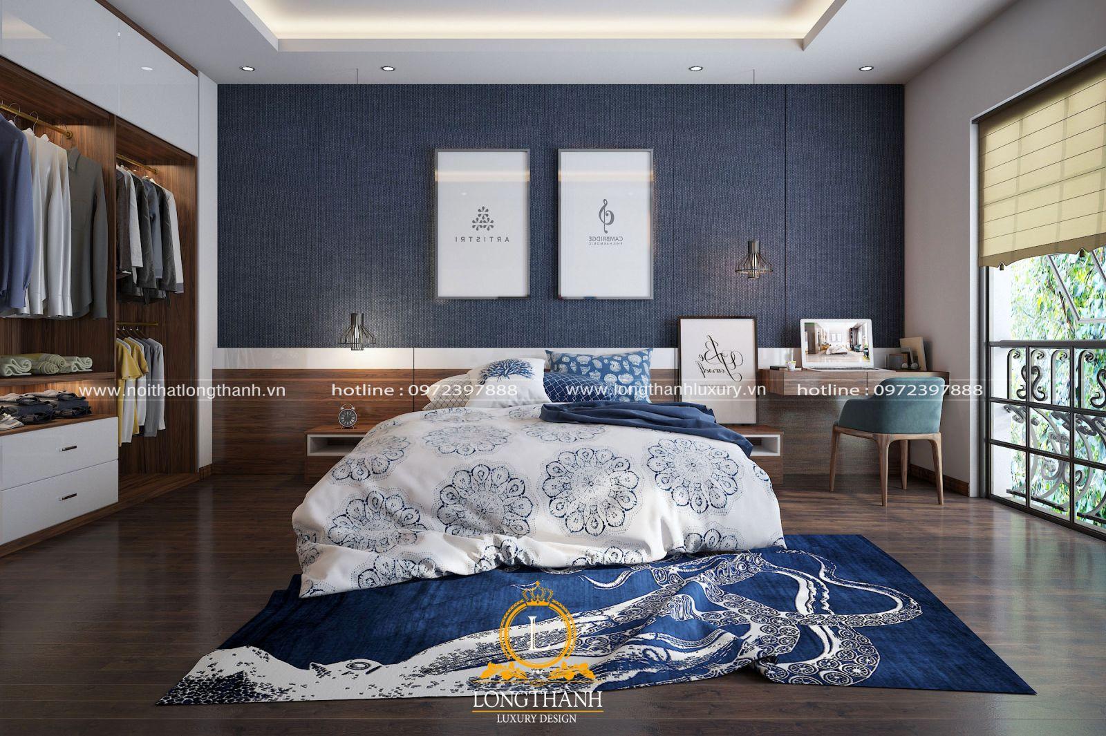 Nội thất phòng ngủ nhẹ nhàng với màu xanh dương