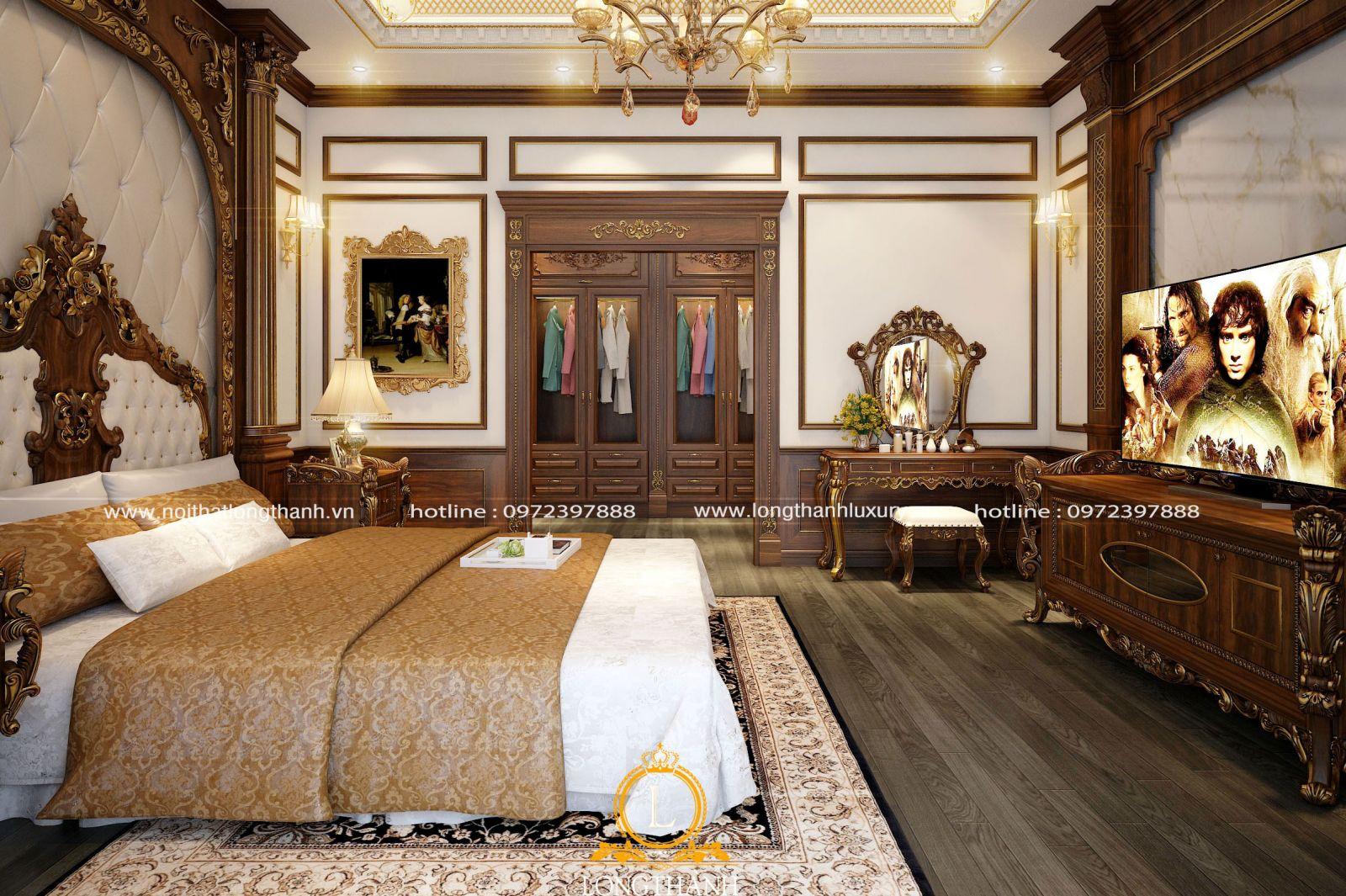 Nội thất phòng ngủ master dát vàng sang trọng