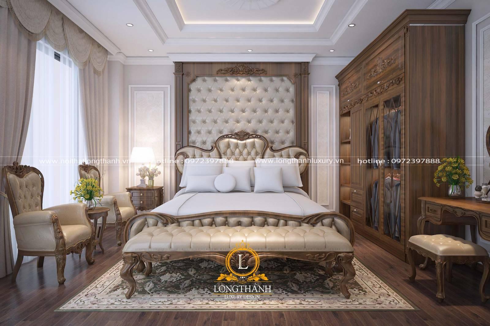 Giường ngủ tân cổ điển được nhiều người yêu thích lựa chọn sử dụng hiện nay