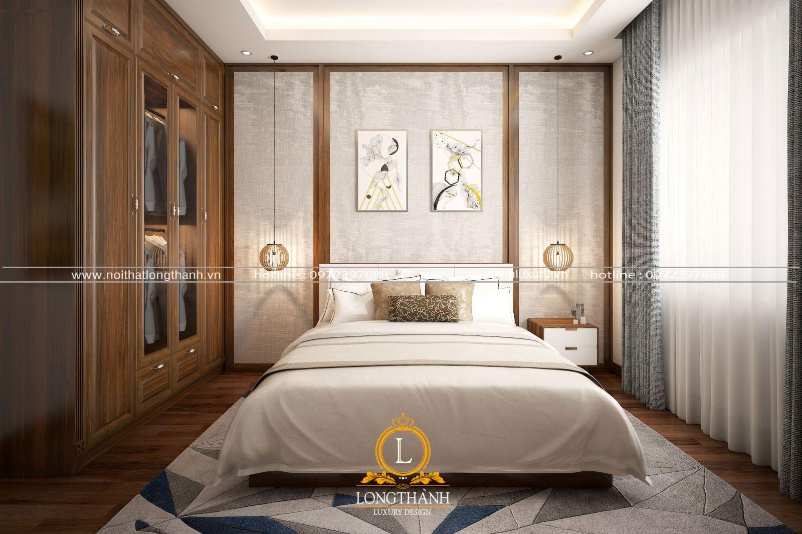 Nội thất phòng ngủ nhẹ nhàng từ gỗ tự nhiên
