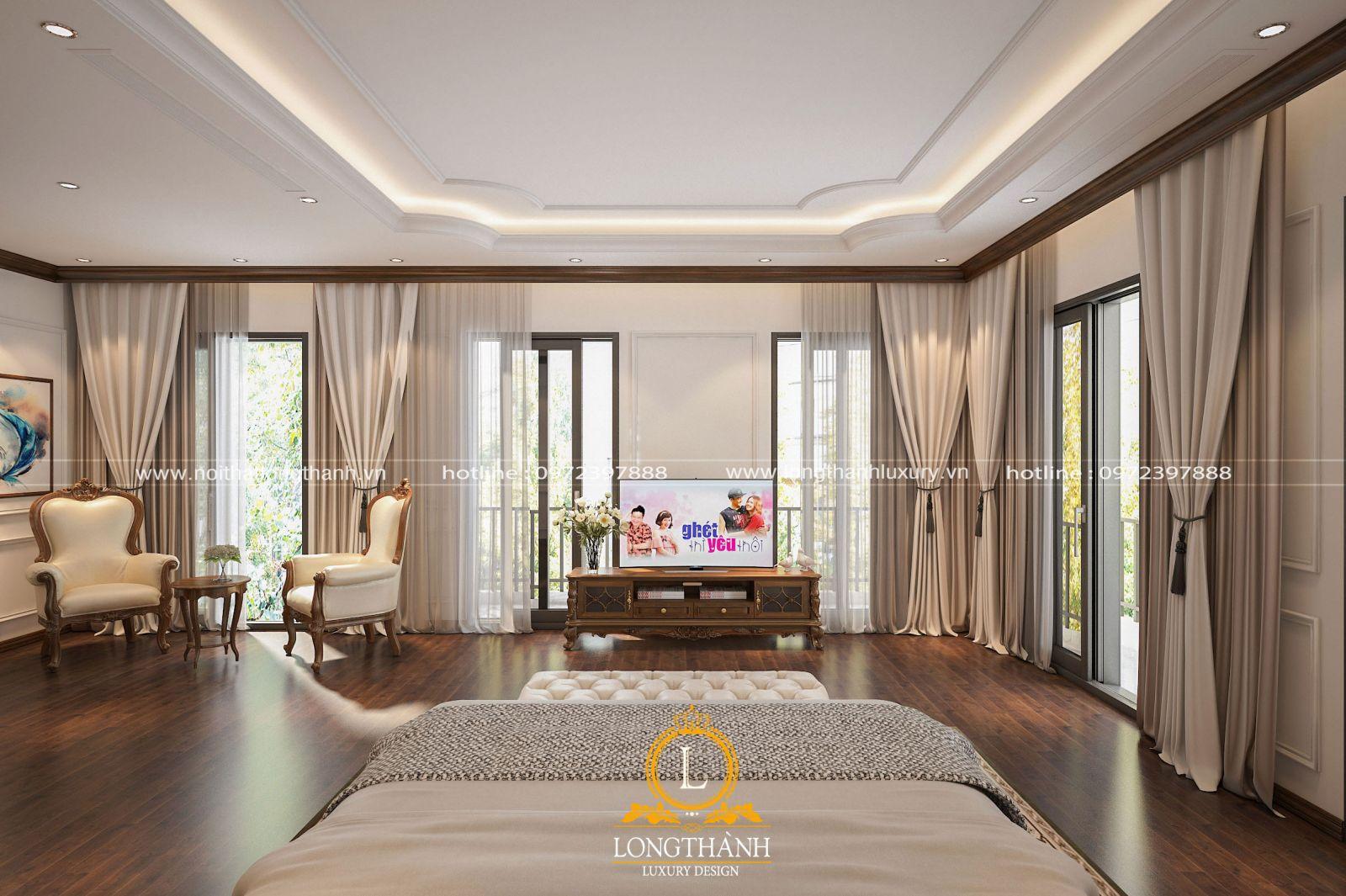 mẫu kệ tivi cho không gian phòng ngủ nhà biệt thự rộng