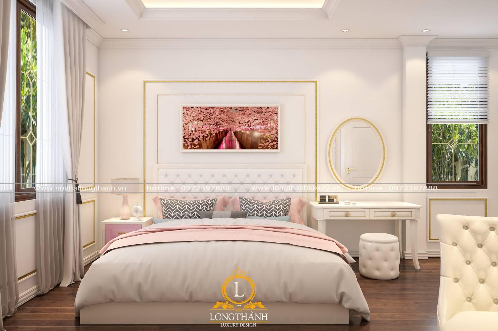 Nội thất phòng ngủ tân cổ điển màu trắng đẹp tinh tế dành cho các bé gái