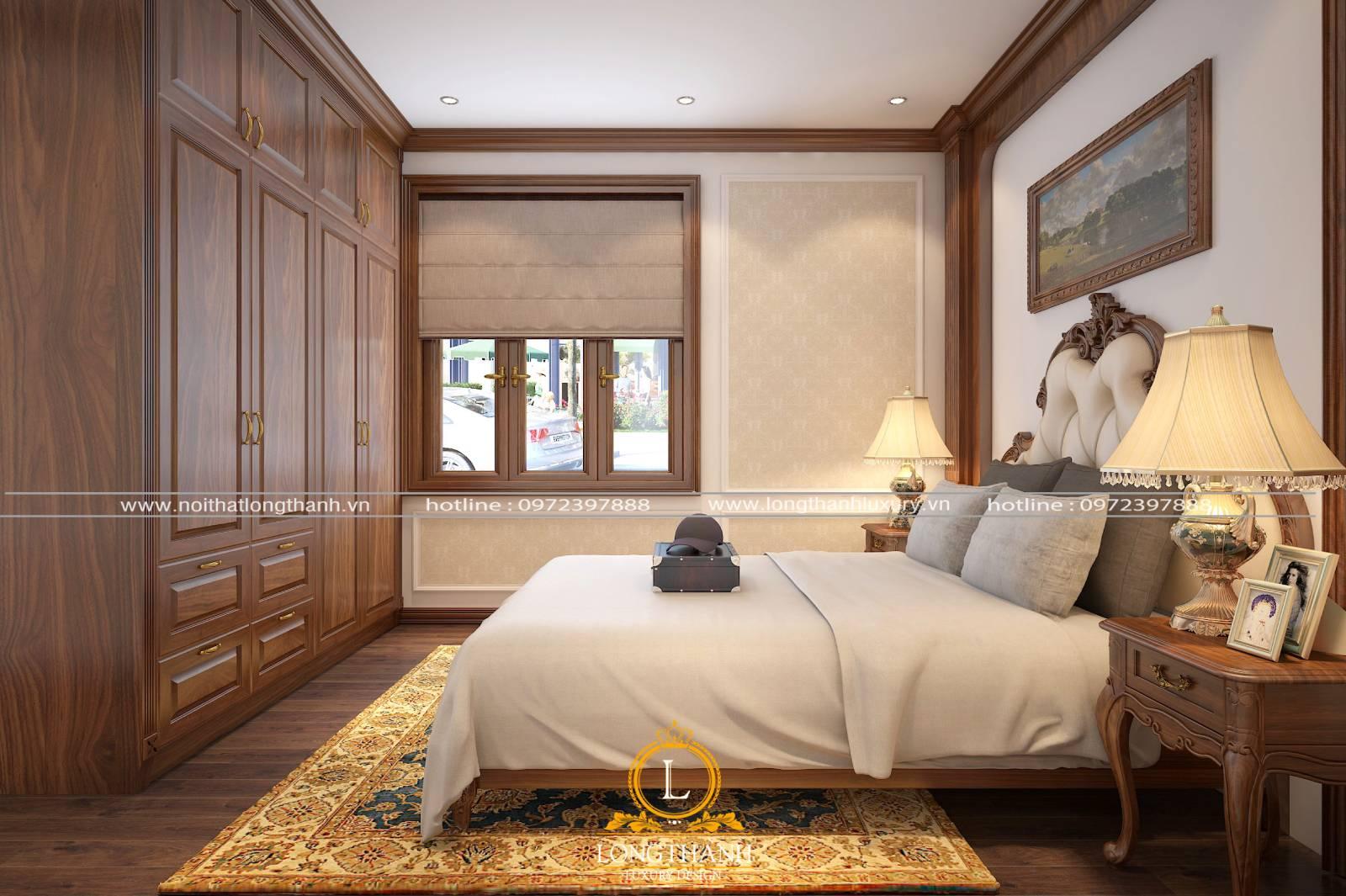 Nội thất phòng ngủ tân cổ điển nhỏ 9m2 sang trọng hiện đại