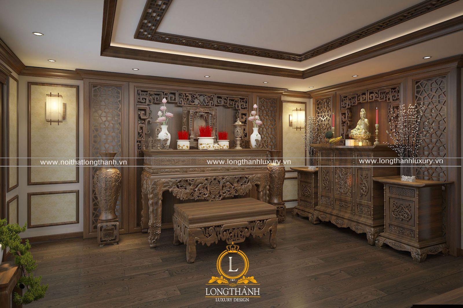 Thiết kế nội thất tân cổ điển phòng thờ biệt thự