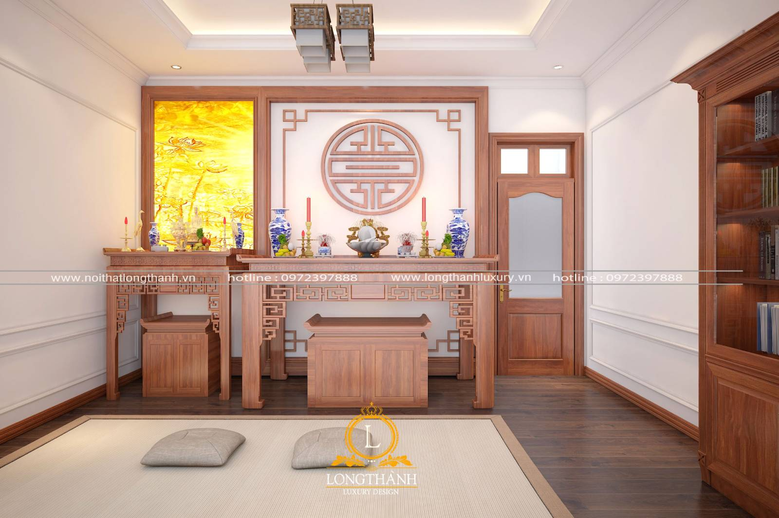 Thiết kế phòng thờ đơn giản phong cách tân cổ điển cho nhà biệt thự