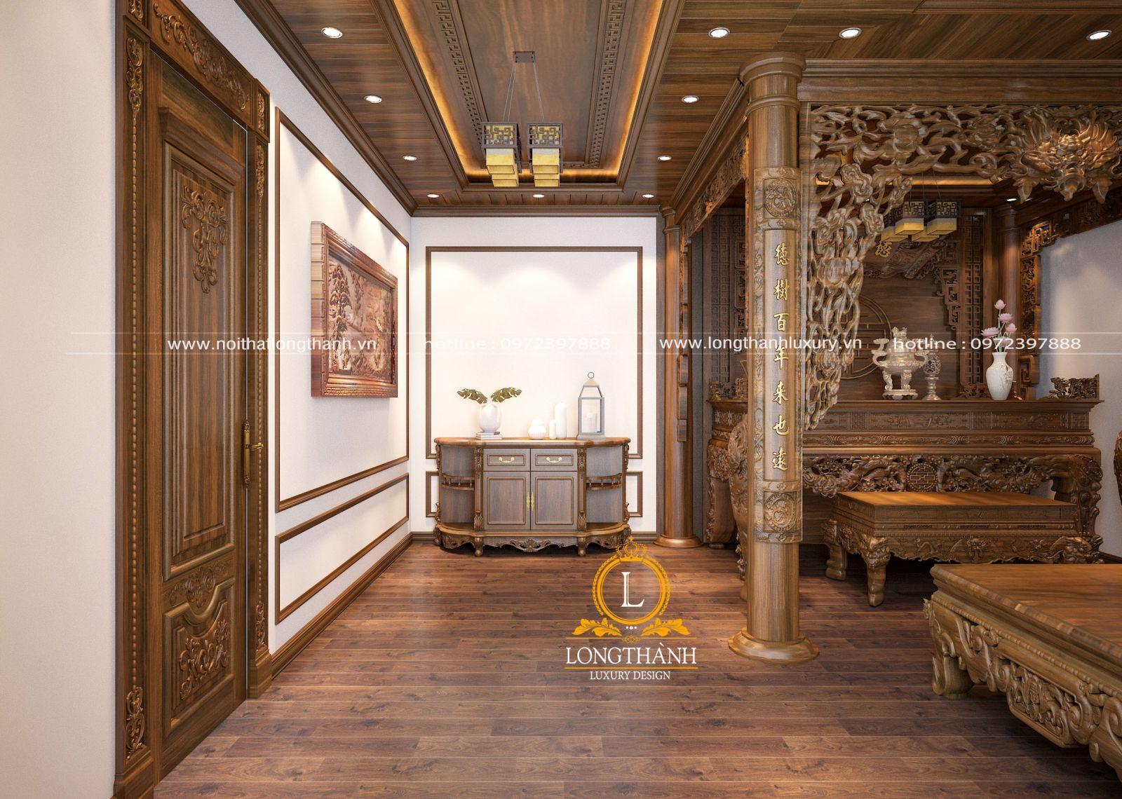 Nội thất phòng thờ tân cổ điển bằng gỗ sang trọng cho biệt thự rộng