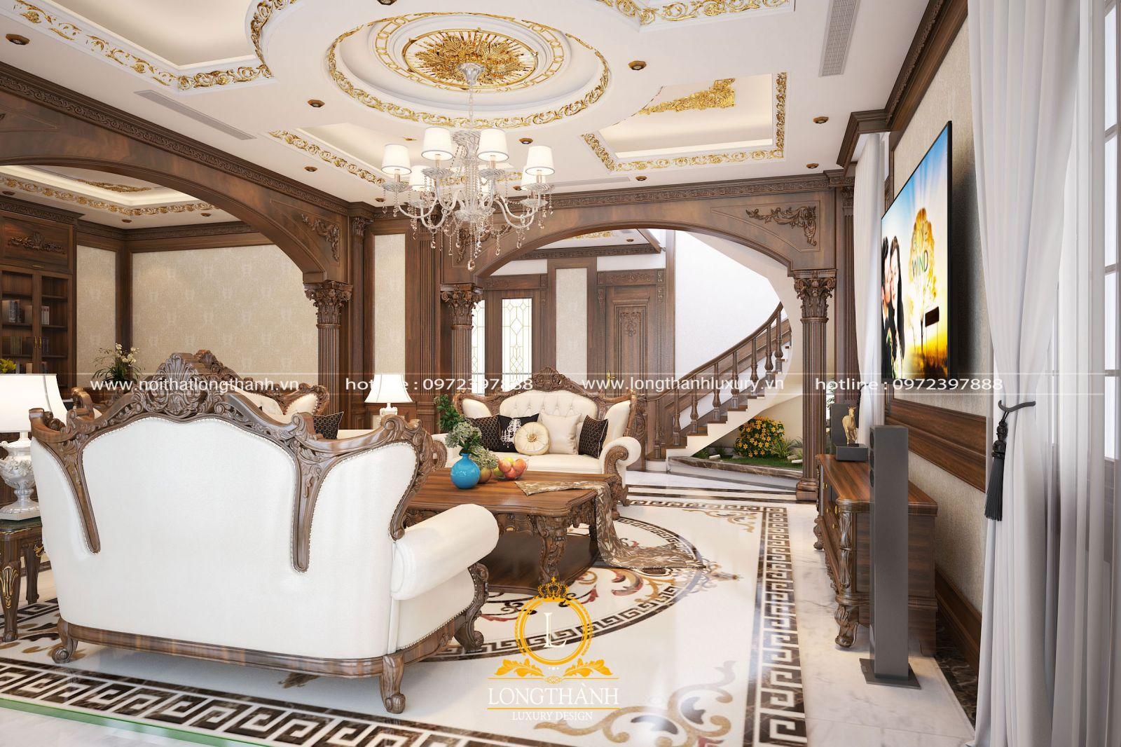 Sofa phòng khách thật đẳng cấp với chất liệu gỗ tự nhiên cao cấp
