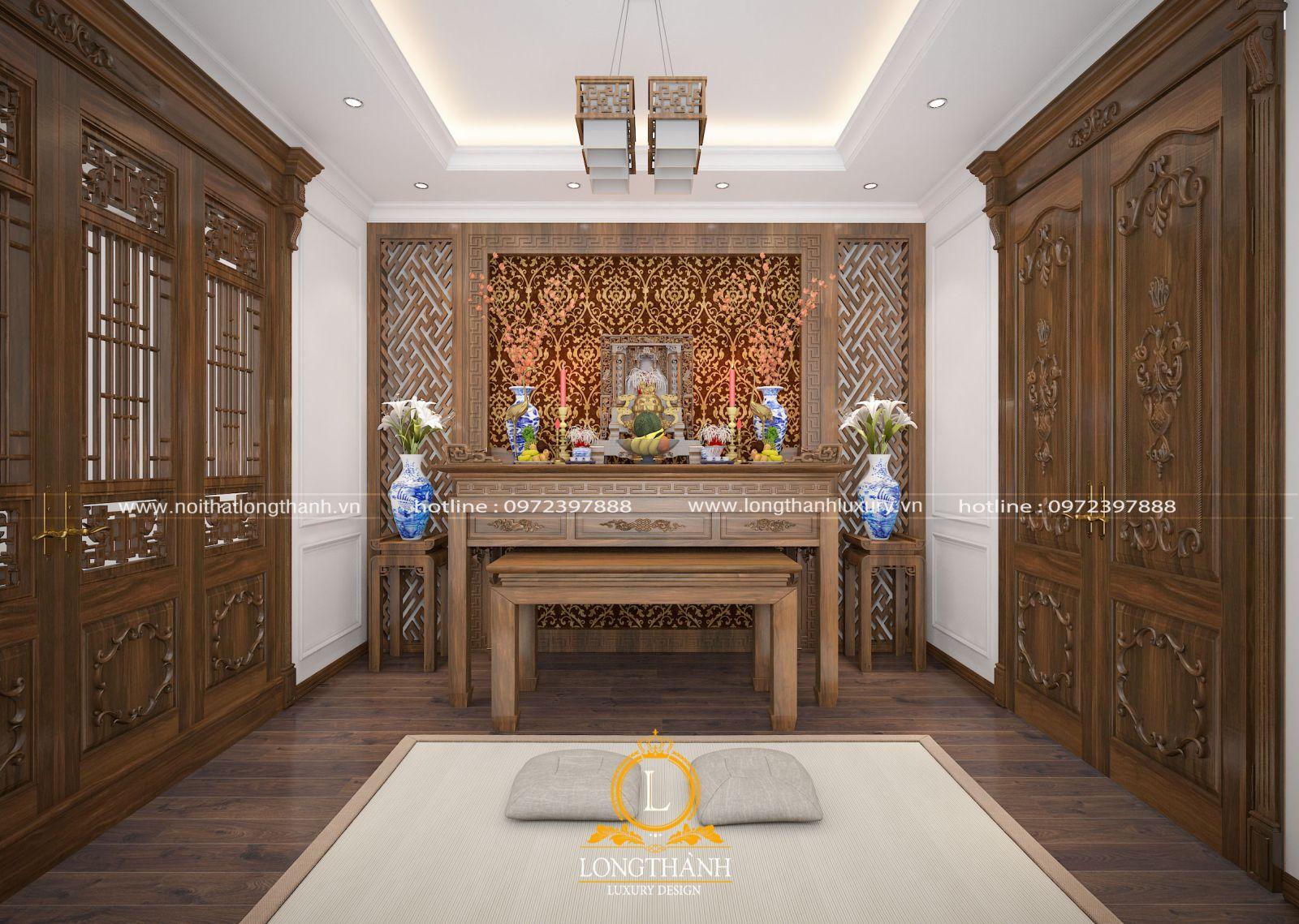 Thiết kế nội thất phòng thờ cho nhà biệt thự sang trọng hiện đại