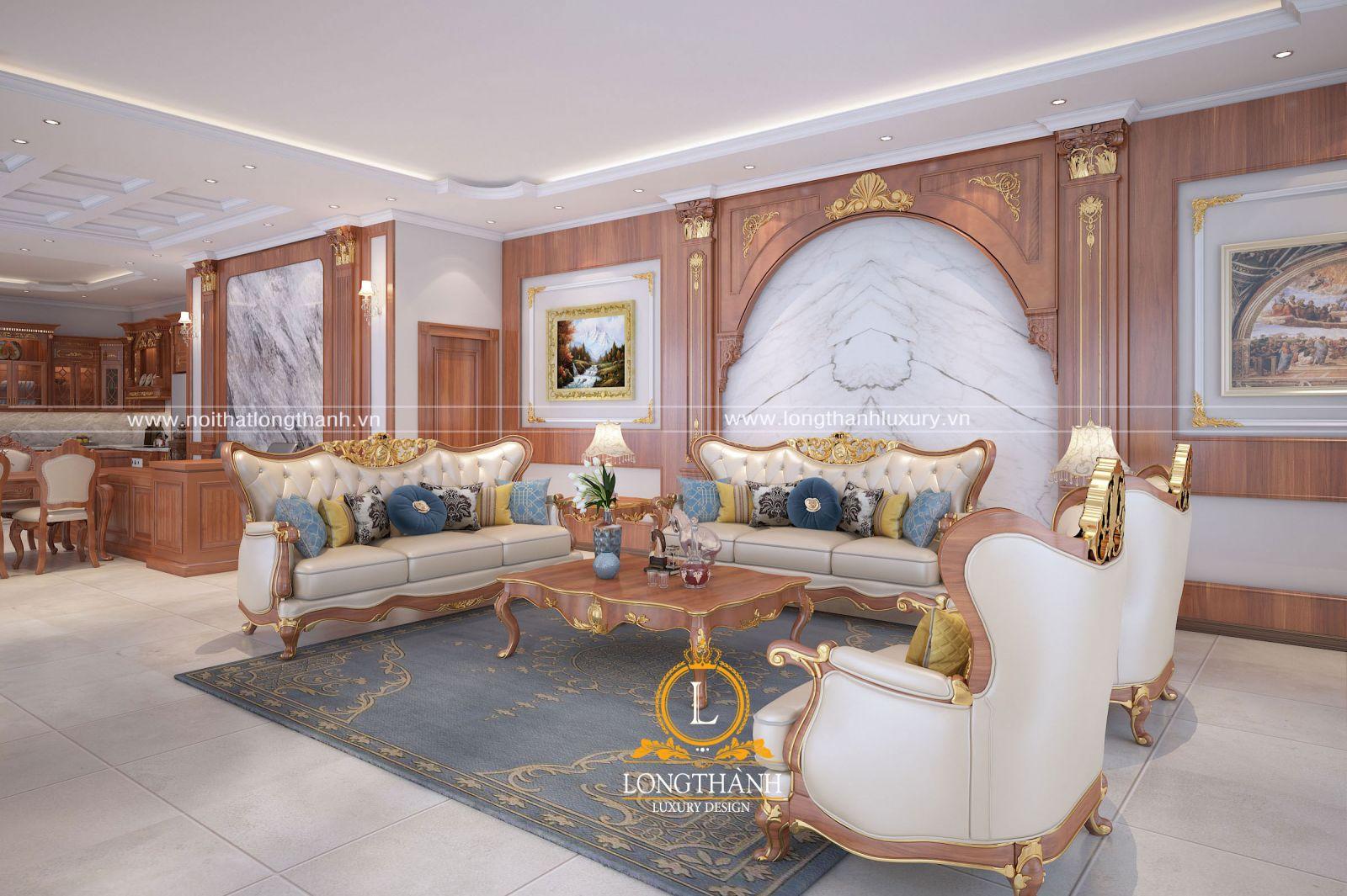 Nội thất tân cổ điển gỗ tự nhiên cho phòng khách