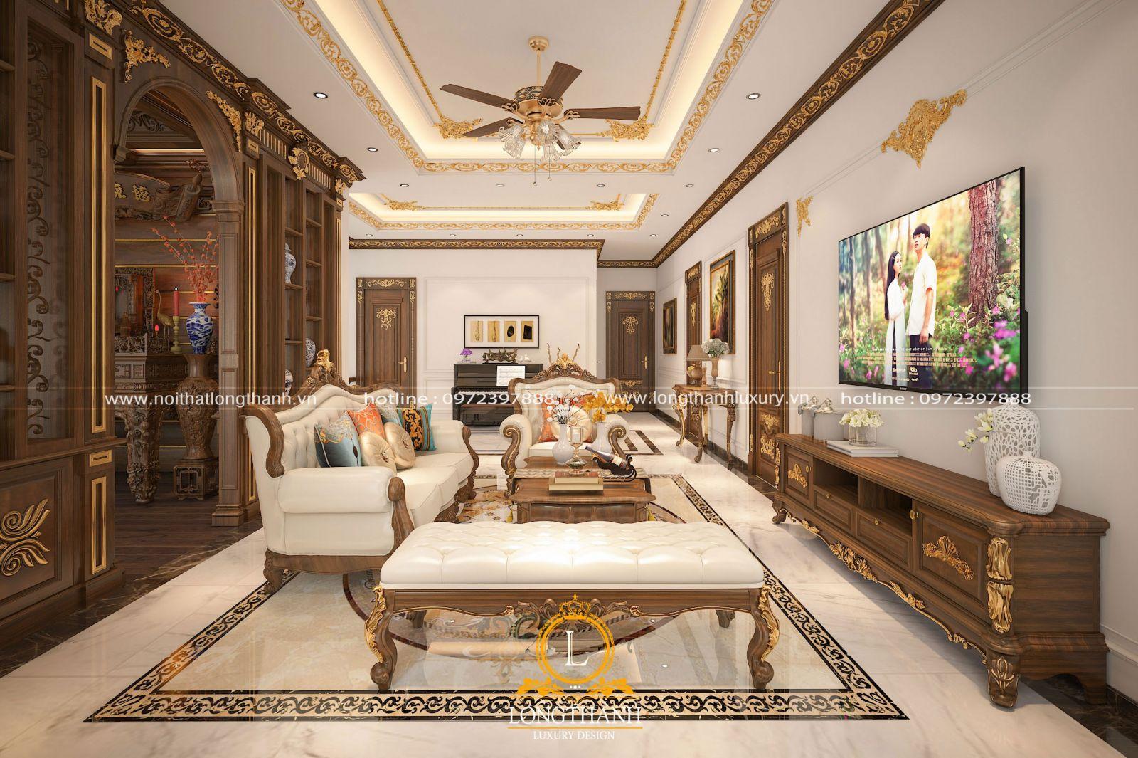 Mẫu thiết kế nội thất phòng sinh hoạt chung tân cổ điển sang trọng với gỗ tự nhiên