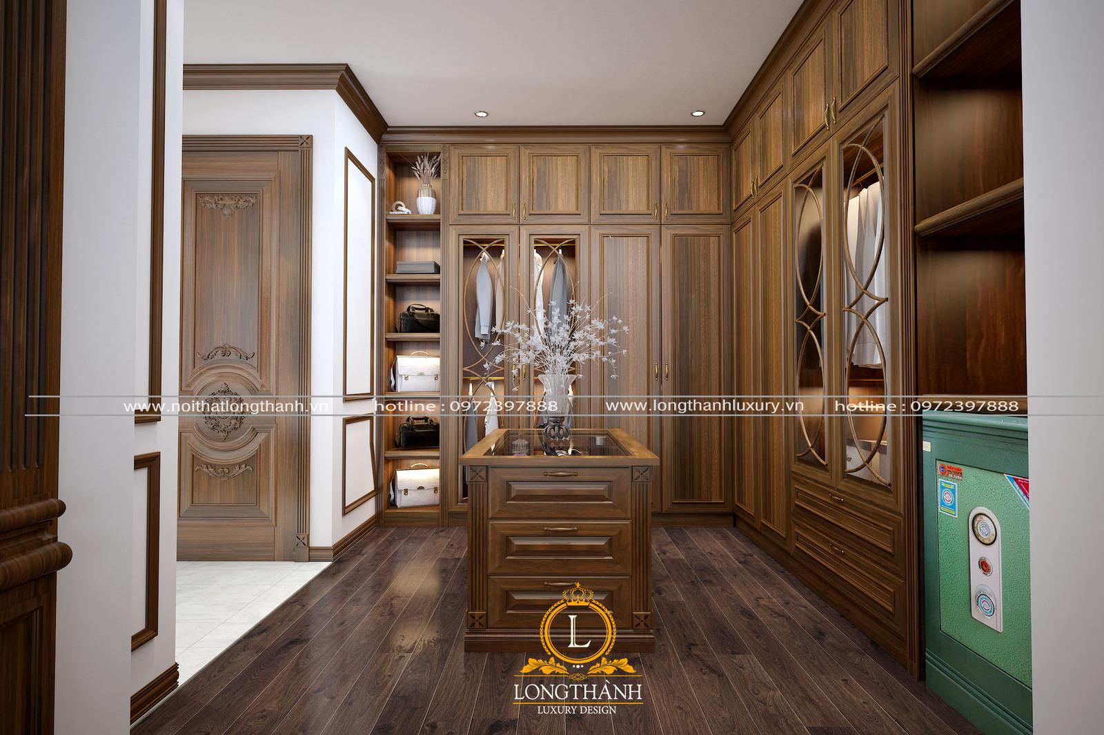 Thiết kế tủ quần áo gỗ tự nhiên cao cấp sang trọng