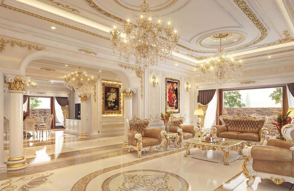 Thiết kế nội thất phòng khách theo phong cách tân cổ điển Pháp