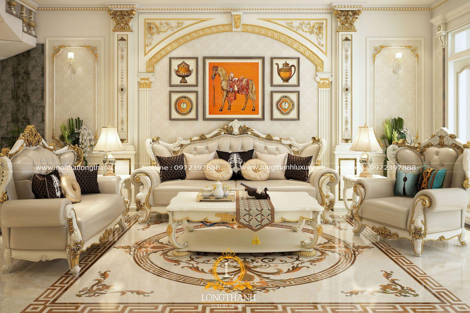 Sofa tân cổ điển bằng gỗ tự nhiên với hoa văn tinh xảo