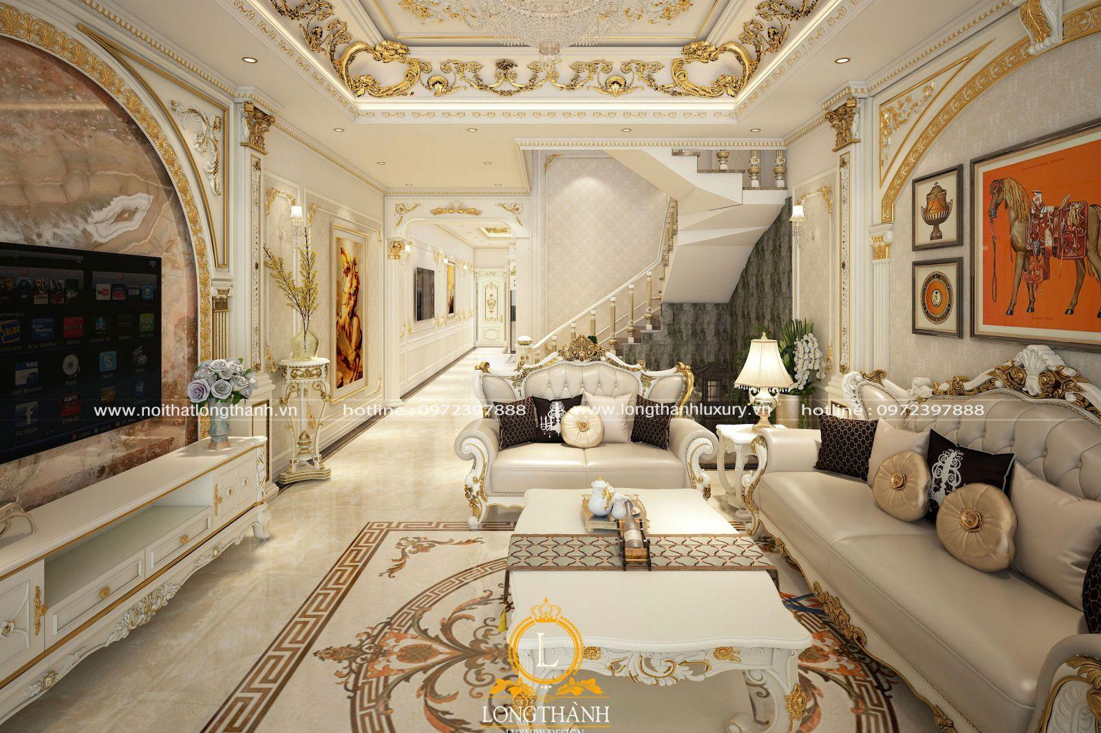 Nội thất tân cổ điển phòng khách sơn trắng lộng lấy và tinh tế