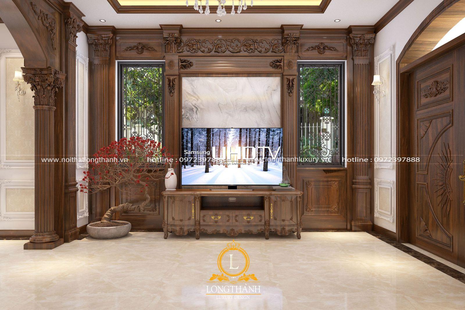 Căn phòng khách tân cổ điển đẹp sử dụng hoàn toàn gỗ tự nhiên