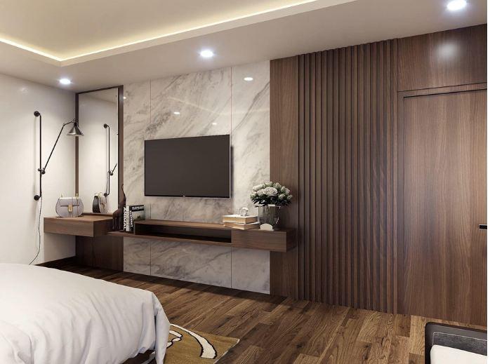 Ốp tường phòng ngủ nhà chung cư bằng chất liệu gỗ Laminate