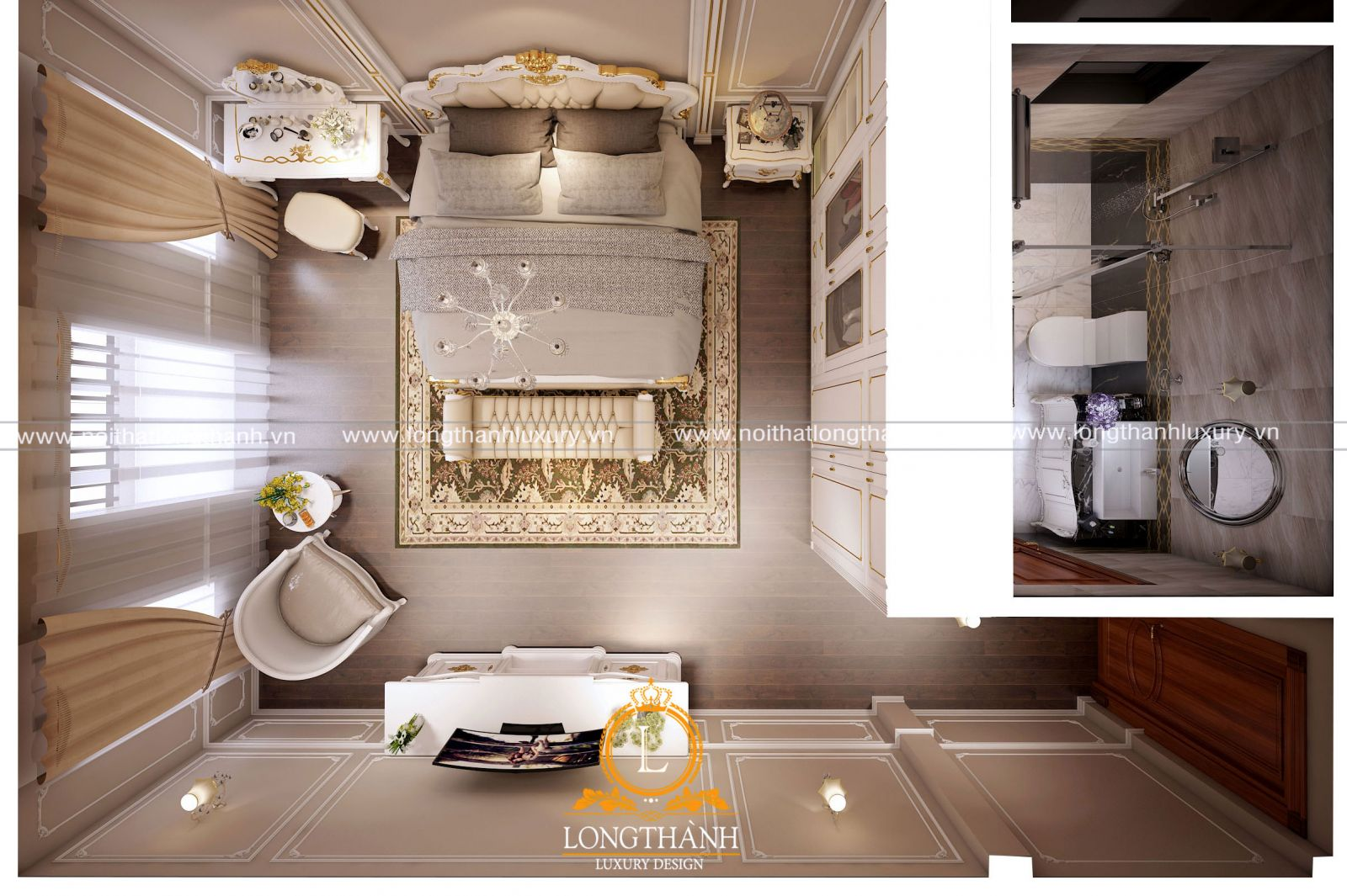 Ý tưởng phân chia mặt bằng và bố trí nội thất phòng ngủ 20m2