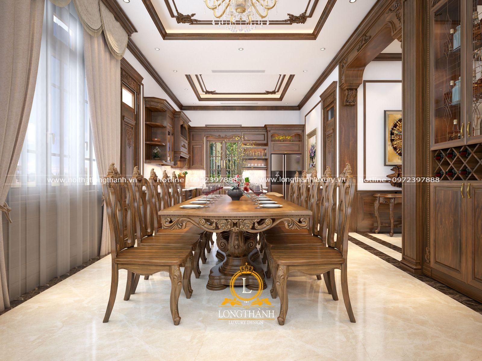 Tổng thể không gian phòng bếp khi kết hợp tủ bếp bà bàn ăn