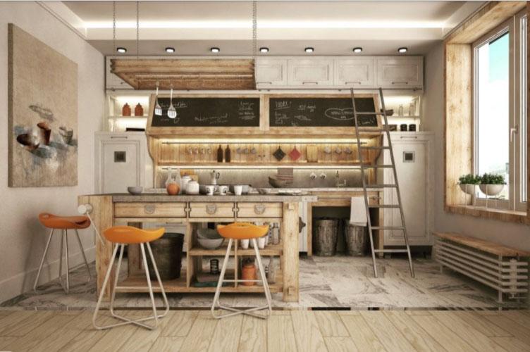 Phòng bếp tối giản tiện nghi