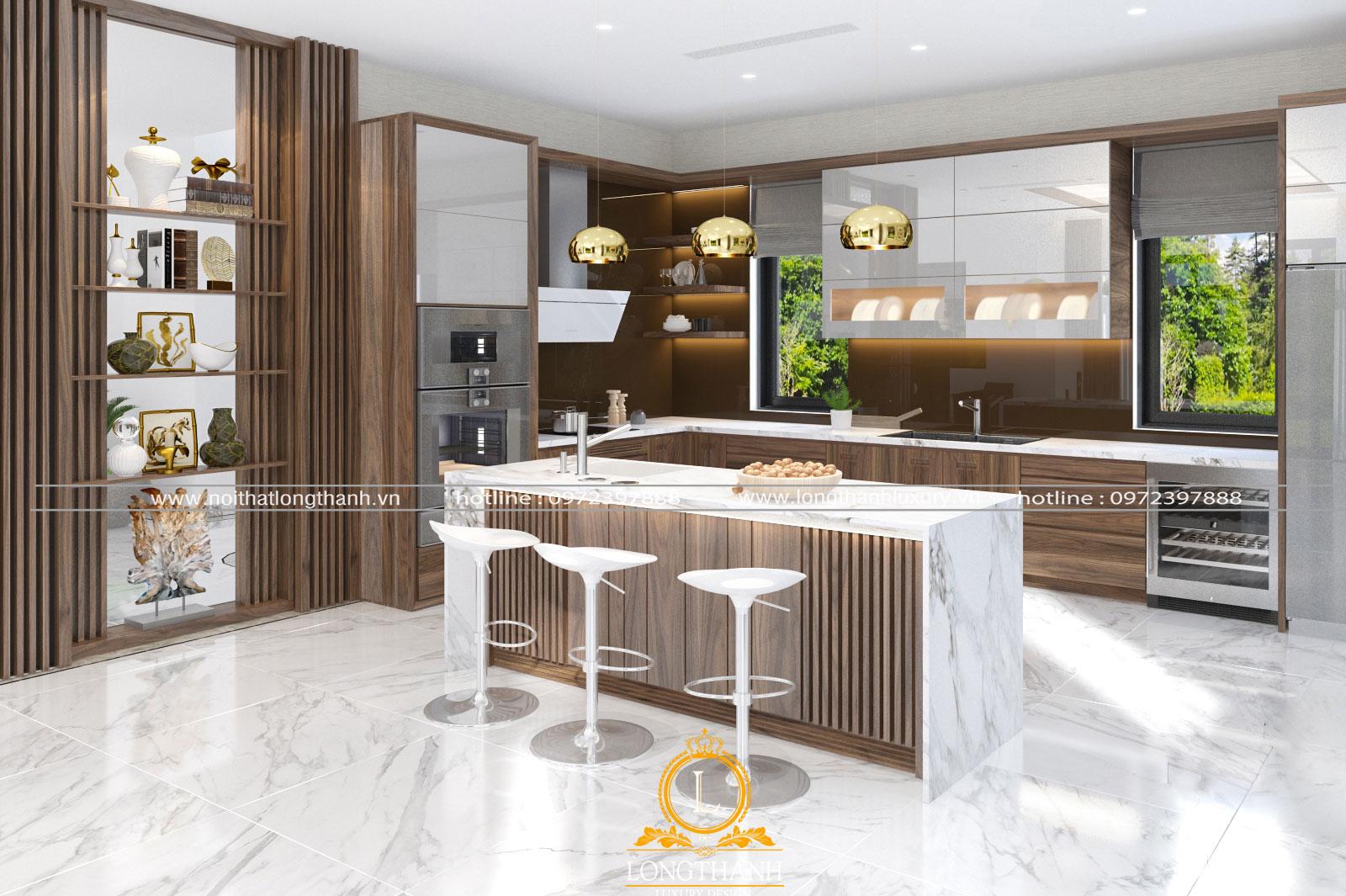 Phòng bếp với thiết kế hiện đại cho không gian vừa và nhỏ