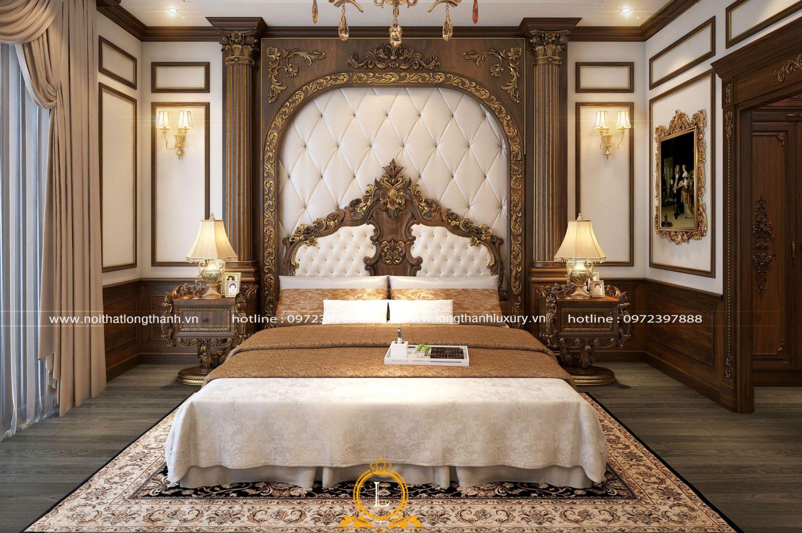 Phong cách nội thất phòng ngủ dát vàng tân cổ điển sang trọng