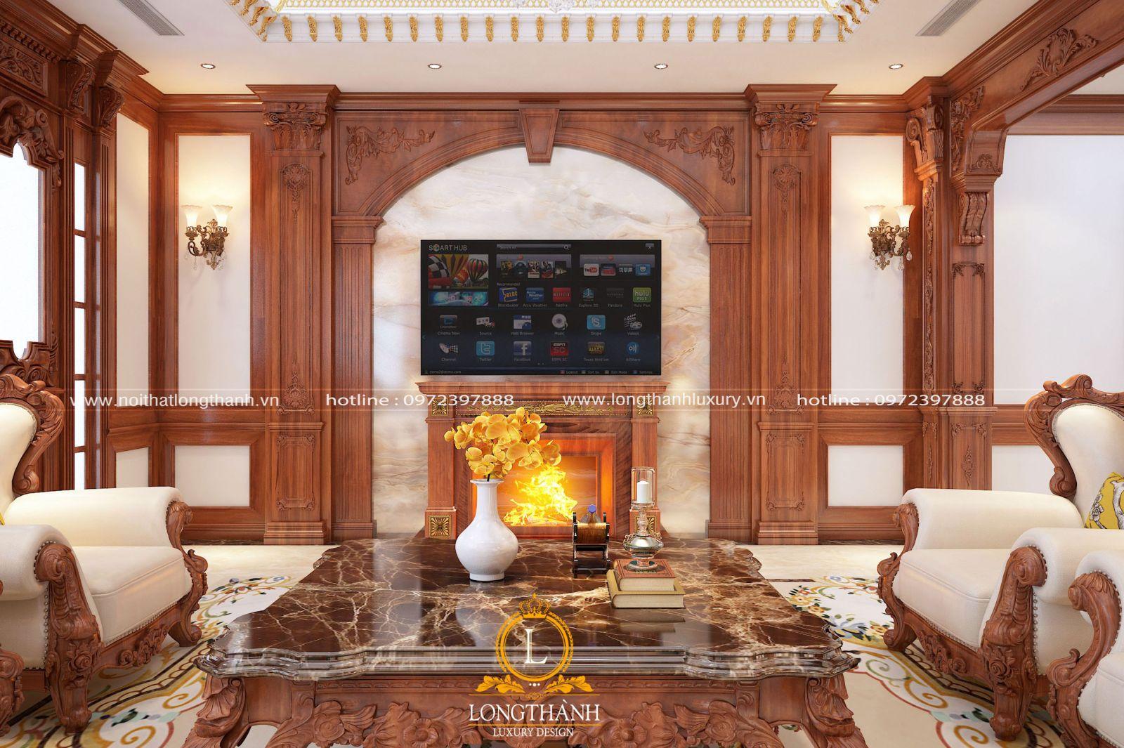 Căn phòng khách tân cổ điển đẹp với những chi tiết hoa văn cầu kỳ mà tinh tế