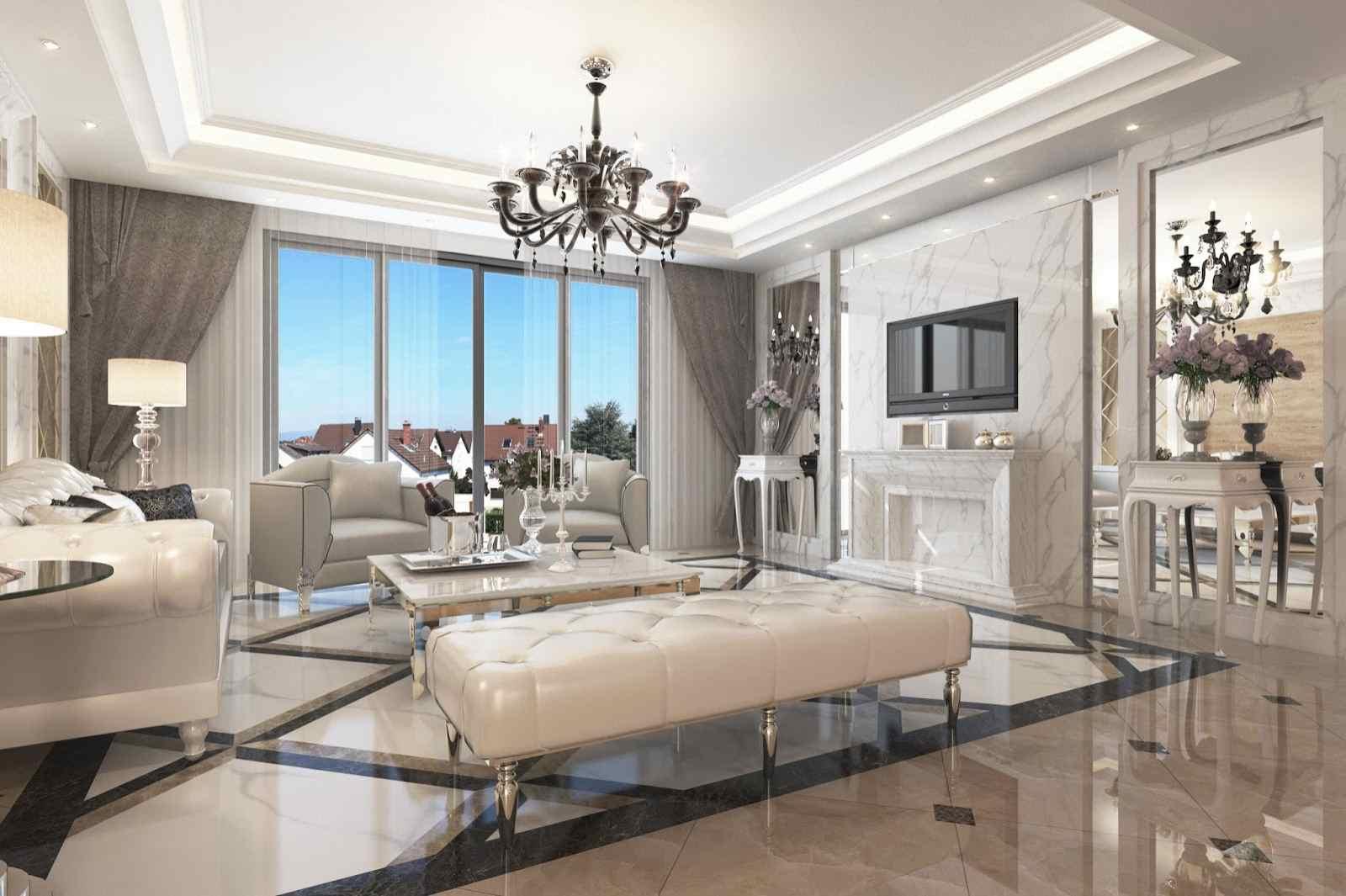 Phòng khách biệt thự cao cấp với thiết kế sang trọng đầy đủ tiện nghi