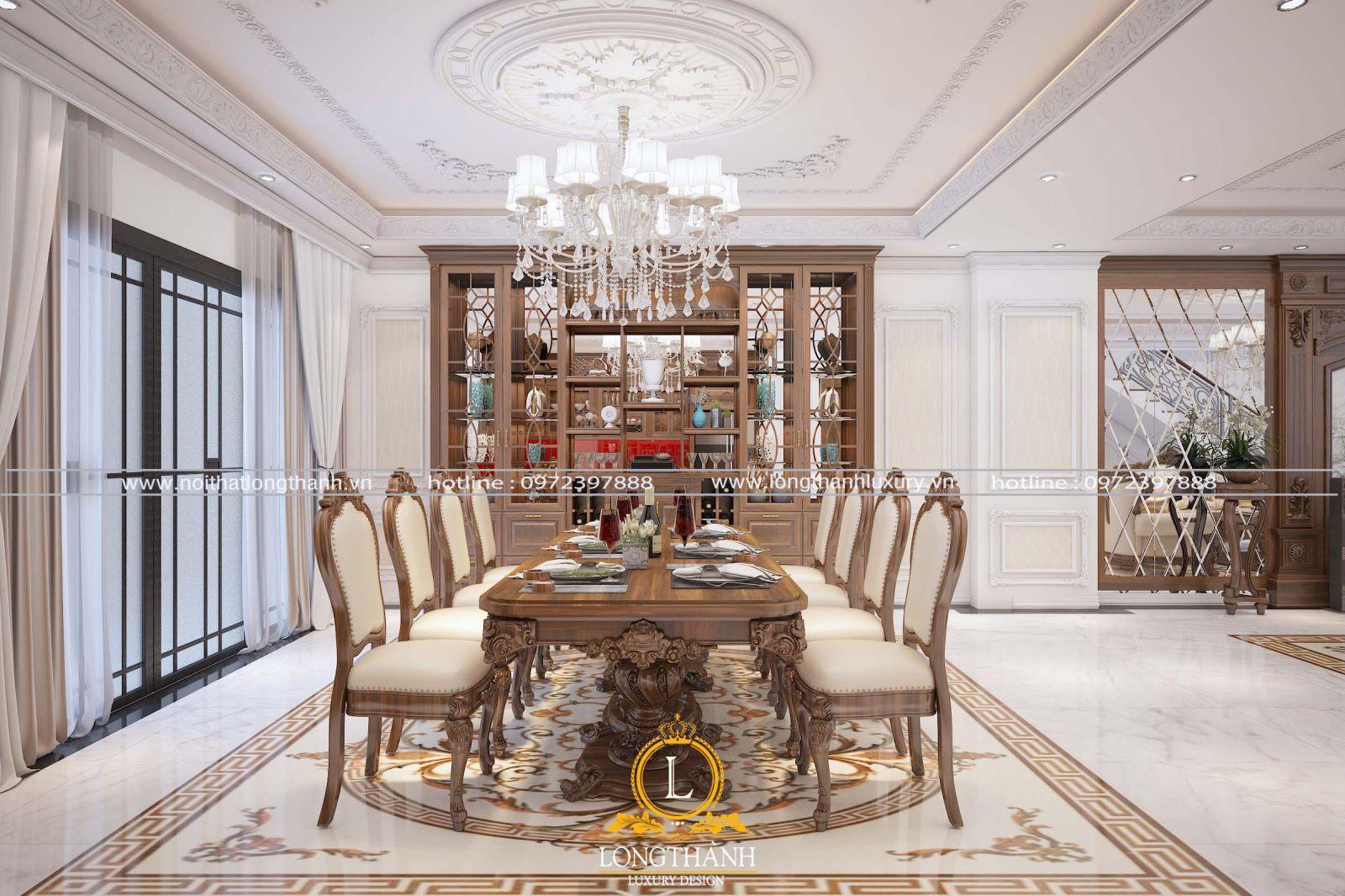 Bàn ghế ăn tân cổ điển mang giá trị thẩm mỹ và nâng tầm đẳng cấp của gia chủ
