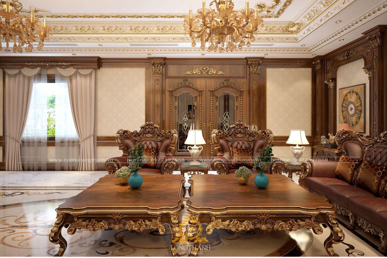 Chất liệu gỗ Gõ dát vàng bọc da bò tự nhiên làm phòng khách trở nên sang trọng hơn