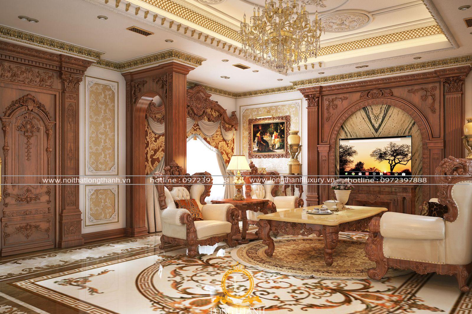 Phòng khách biệt thự đẹp phong cách Châu Âu