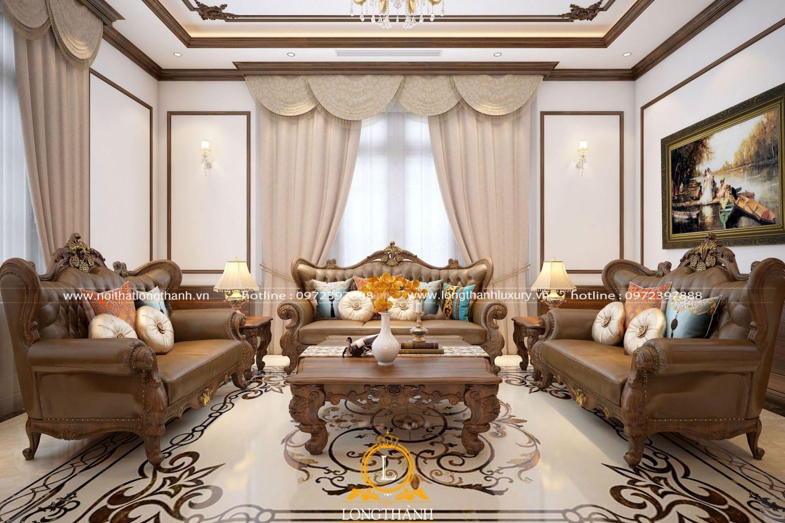 Phòng khách biệt thự đẹp với nội thất gỗ tự nhiên sang trọng