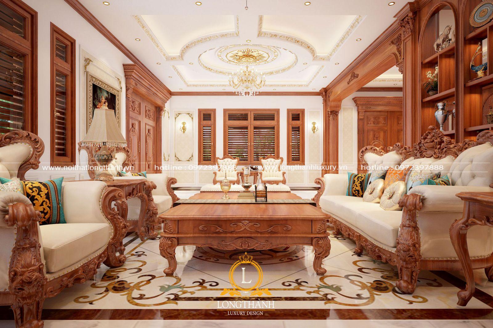 Phòng khách biệt thự đẹp với nội thất màu sắc gỗ gõ đỏ