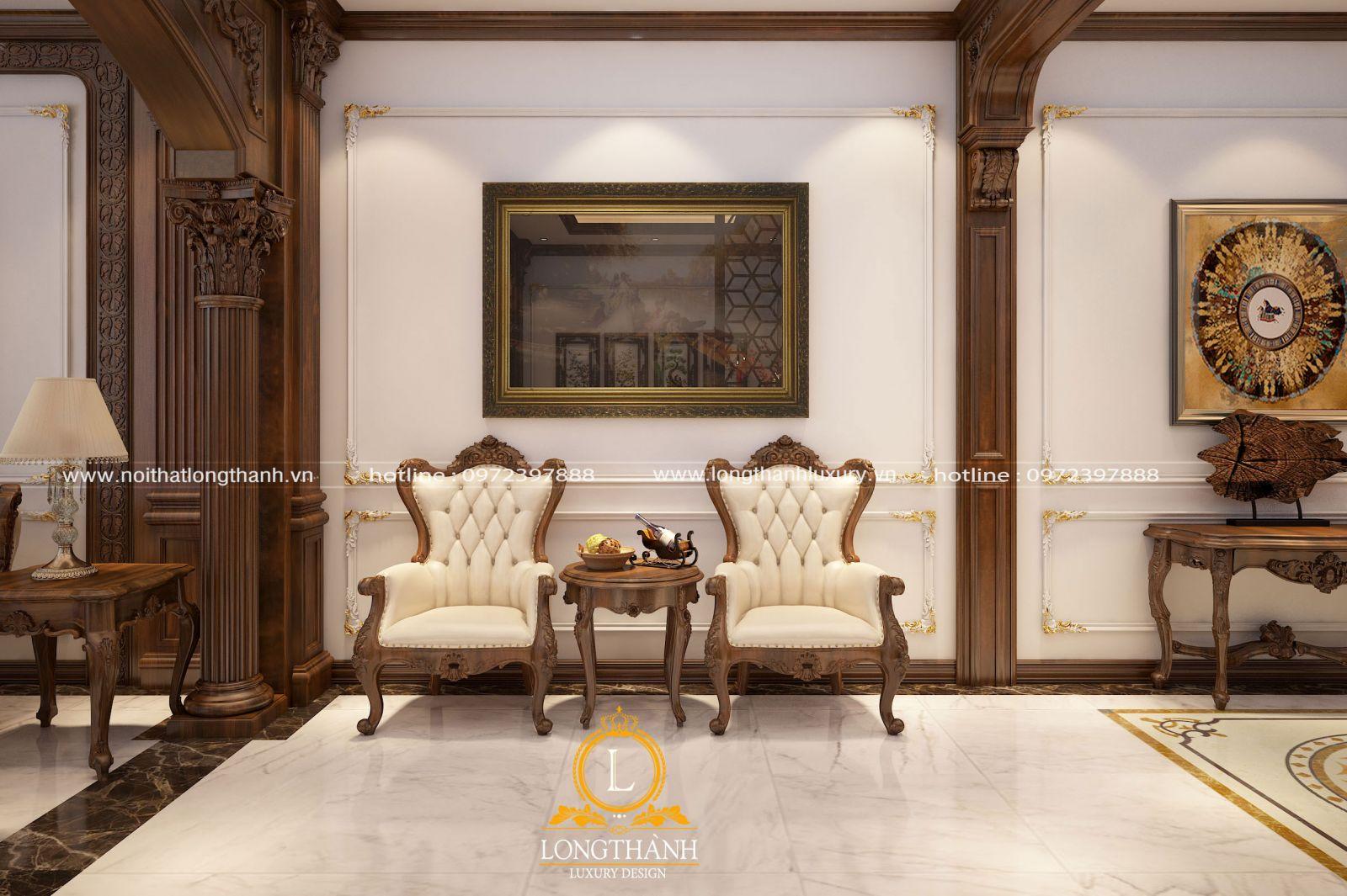 Bộ ghế nghỉ cũng được sử dụng trong không gian phòng khách biệt thự