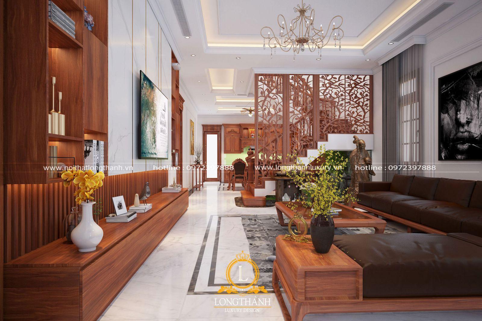 Thiết kế nội thất phòng khách nhà biệt thự liền kề phong cách hiện đại