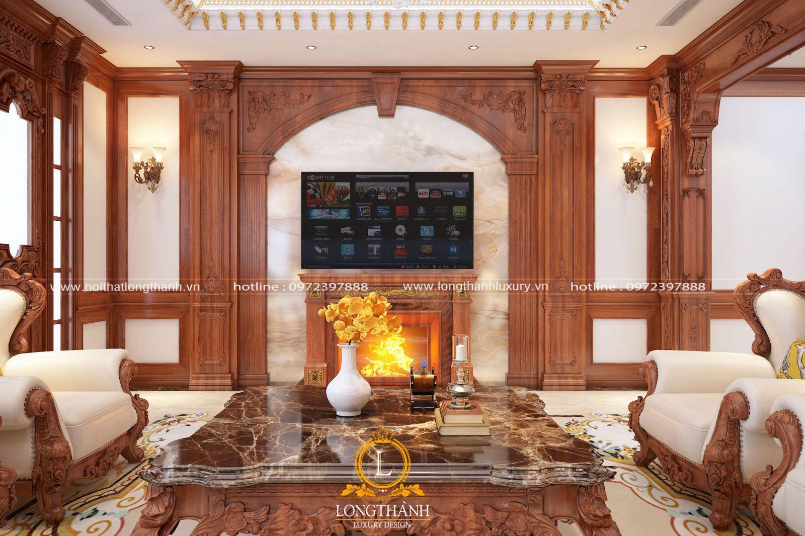 Phòng khách biệt thự tân cổ điển ấn tượng bởi lò sưởi ấm cúng