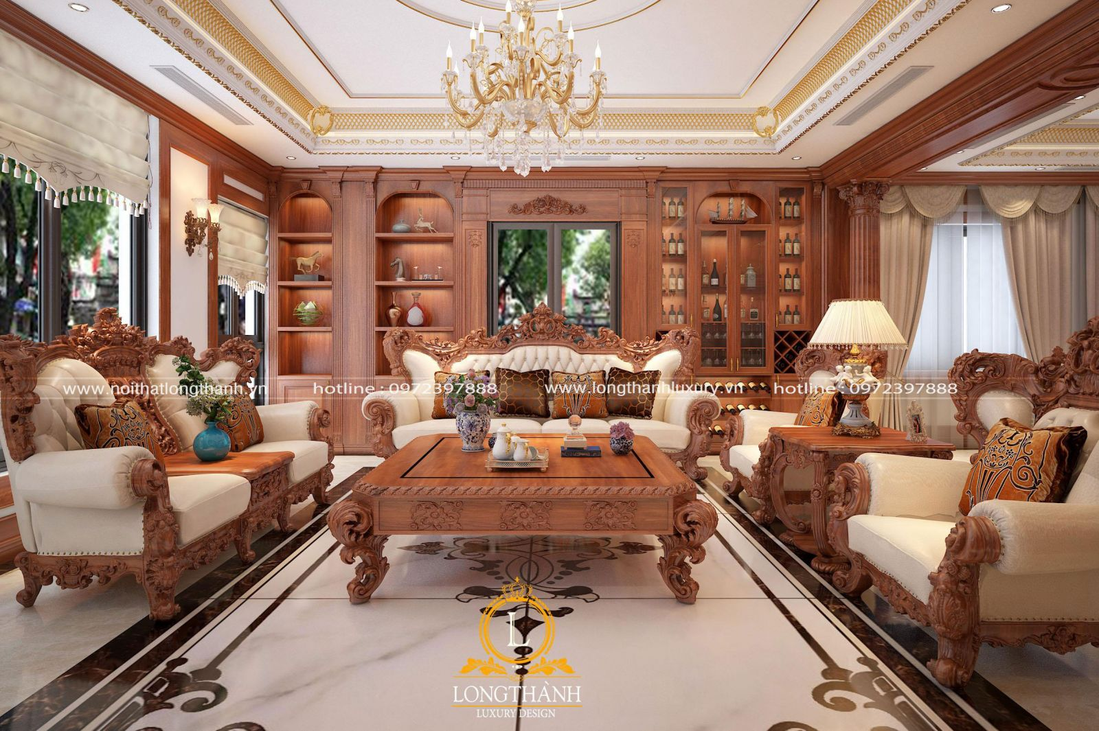 Nét đẹp kiêu sa, lộng lẫy và tinh tế được ấn chứa trong bộ bàn ghế sofa tân cổ điển